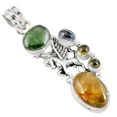 11.22cts natural multicolor tourmaline 925 sterling silver unicorn pendant p8384