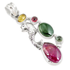 10.53cts natural multi color tourmaline 925 sterling silver fish pendant p8389