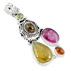 11.23cts natural multicolor tourmaline 925 sterling silver pendant jewelry p8394