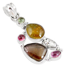 10.37cts natural multi color tourmaline 925 sterling silver owl pendant p8400