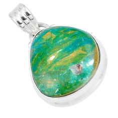 13.70cts natural green opaline 925 sterling silver pendant jewelry p8539