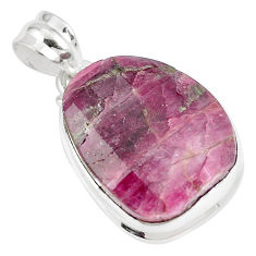 25.00cts natural pink tourmaline 925 sterling silver pendant jewelry p8557