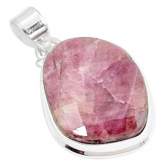 25.00cts natural pink tourmaline fancy 925 sterling silver pendant jewelry p8601