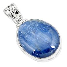 925 sterling silver 27.08cts natural blue kyanite fancy pendant jewelry p8619