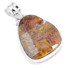 20.88cts natural brown pietersite (african) 925 sterling silver pendant p8668