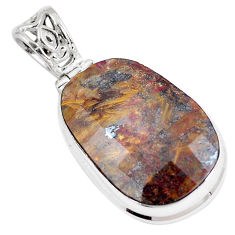 27.70cts natural brown pietersite (african) 925 sterling silver pendant p8671