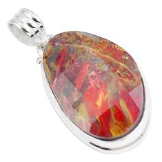 925 sterling silver 20.65cts natural brown pietersite (african) pendant p8673