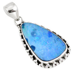 10.31cts natural blue doublet opal australian 925 sterling silver pendant p8769
