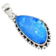 10.31cts natural blue doublet opal australian 925 sterling silver pendant p8771
