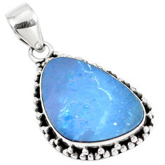925 silver 10.31cts natural blue doublet opal australian fancy pendant p8776