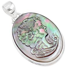 20.07cts natural titanium cameo on shell 925 silver pendant jewelry p9291