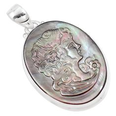 20.07cts natural titanium cameo on shell 925 sterling silver pendant p9294