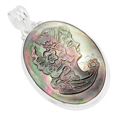 17.57cts natural titanium cameo on shell 925 sterling silver pendant p9297