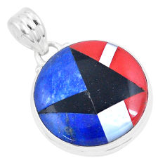 15.02cts natural blue sodalite onyx 925 sterling silver pendant jewelry p9321