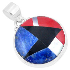 14.47cts natural blue sodalite onyx 925 sterling silver pendant jewelry p9322