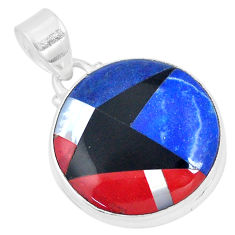 14.47cts natural blue sodalite onyx 925 sterling silver pendant jewelry p9323