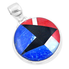 925 sterling silver 15.02cts natural blue sodalite onyx round pendant p9324