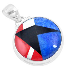 14.45cts natural blue sodalite onyx 925 sterling silver pendant jewelry p9325