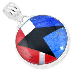 13.66cts natural blue sodalite onyx 925 sterling silver pendant jewelry p9326
