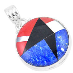 14.45cts natural blue sodalite onyx 925 sterling silver pendant jewelry p9328