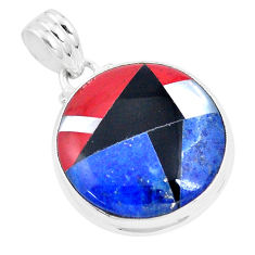 925 sterling silver 14.09cts natural blue sodalite onyx pendant jewelry p9330