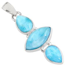 12.58cts natural blue larimar 925 sterling silver pendant jewelry p93301