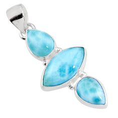 12.58cts natural blue larimar 925 sterling silver pendant jewelry p93302