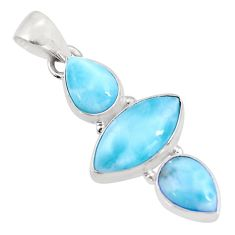 12.68cts natural blue larimar 925 sterling silver pendant jewelry p93303