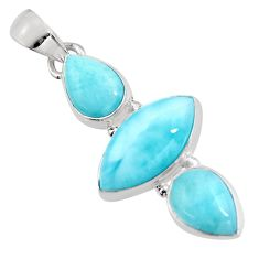 925 sterling silver 13.15cts natural blue larimar pendant jewelry p93304