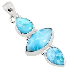 12.22cts natural blue larimar 925 sterling silver pendant jewelry p93305