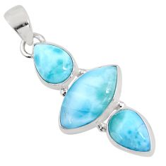 925 silver 12.22cts natural blue larimar marquise pendant jewelry p93306