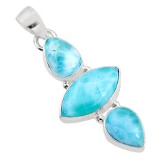 12.58cts natural blue larimar 925 sterling silver pendant jewelry p93308