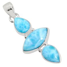 12.58cts natural blue larimar 925 sterling silver pendant jewelry p93310