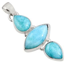 12.22cts natural blue larimar 925 sterling silver pendant jewelry p93311