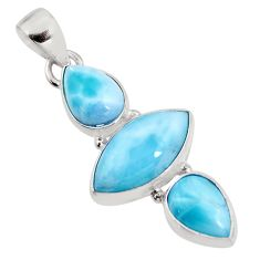 925 sterling silver 12.58cts natural blue larimar pendant jewelry p93312