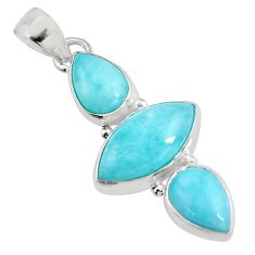 12.22cts natural blue larimar 925 sterling silver pendant jewelry p93313