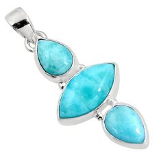 12.22cts natural blue larimar 925 sterling silver pendant jewelry p93314