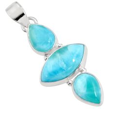 925 sterling silver 12.22cts natural blue larimar marquise pendant p93315