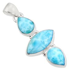 12.68cts natural blue larimar 925 sterling silver pendant jewelry p93316