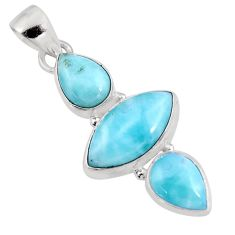 12.65cts natural blue larimar 925 sterling silver pendant jewelry p93317