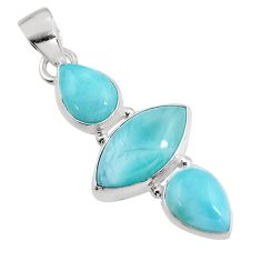 925 sterling silver 12.58cts natural blue larimar pendant jewelry p93318