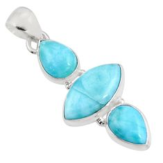 12.22cts natural blue larimar 925 sterling silver pendant jewelry p93319