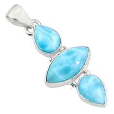 12.52cts natural blue larimar 925 sterling silver pendant jewelry p93320