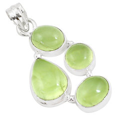 19.72cts natural green prehnite 925 sterling silver pendant jewelry p9341