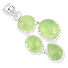 19.72cts natural green prehnite 925 sterling silver pendant jewelry p9345