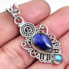 925 sterling silver 6.28cts natural blue labradorite pendant jewelry p93494