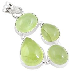 19.27cts natural green prehnite 925 sterling silver pendant jewelry p9359