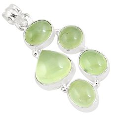 925 sterling silver 19.27cts natural green prehnite pendant jewelry p9360