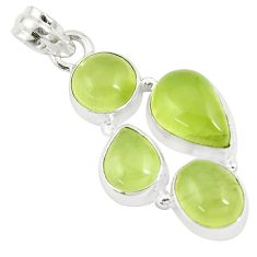 17.95cts natural green prehnite 925 sterling silver pendant jewelry p9361
