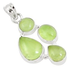 17.90cts natural green prehnite 925 sterling silver pendant jewelry p9362